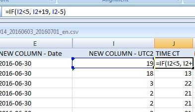 In a new column, =IF(UTC hour<5, UTC hour+19, UTC hour-5)
