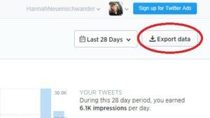 exporting twitter analytics data