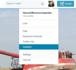 get to twitter analytics