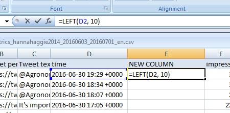 New column --> =LEFT(time cell, 10)