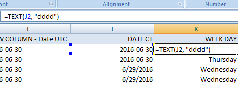converting date to day of week in excel